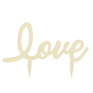 Topo de Bolo Love Creme - 01 unidade - Cromus Casamento Romantico - Rizzo Festas