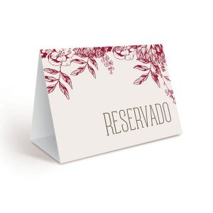 Placa Reservado 23010851 - 06 unidades - Cromus Casamento Escarlate - Rizzo Festas