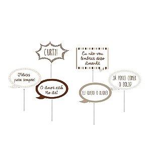 Plaquinhas Divertidas para Pista 23010547 - 08 unidades - Cromus Casamento Rustico - Rizzo Festas