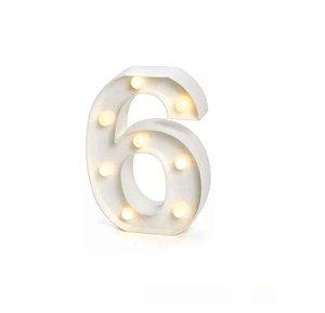 Número LED Decoração Festa - nº 6 - 01 unidade - Rizzo Festas
