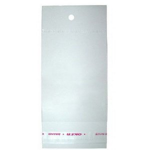 Saco Adesivado com Furo para Pendurar - 7cm x 17cm - 100 unidades - Rizzo Embalagens