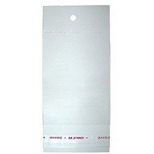 Saco Adesivado com Furo para Pendurar - 5cm x 22cm - 100 unidades - Rizzo Embalagens