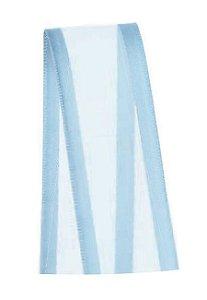 Fita de Voal com Cetim ZC005 22mm Cor 212 Azul Bebê - 10 metros - Progresso - Rizzo Embalagens