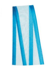 Fita de Voal com Cetim ZC005 22mm Cor 213 Azul Turquesa - 10 metros - Progresso - Rizzo Embalagens