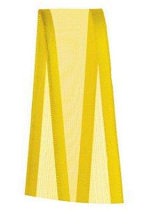 Fita de Voal com Cetim ZC005 22mm Cor 763 Amarelo Gema - 10 metros - Progresso - Rizzo Embalagens