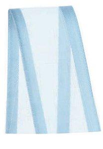Fita de Voal com Cetim ZC009 38mm Cor 212 Azul Bebê - 10 metros - Progresso - Rizzo Embalagens