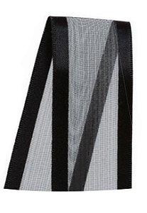 Fita de Voal com Cetim ZC009 38mm Cor 219 Preto - 10 metros - Progresso - Rizzo Embalagens