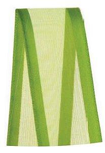Fita de Voal com Cetim ZC009 38mm Cor 677 Verde Folha - 10 metros - Progresso - Rizzo Embalagens