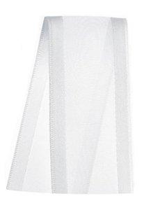 Fita de Voal com Cetim ZC009 38mm Cor 201 Branco - 10 metros - Progresso - Rizzo Embalagens