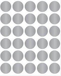 Etiqueta Adesiva Bolinha Prata Metalizado - 100 unidades - Massai - Rizzo Embalagens
