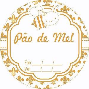 Etiqueta Pao de Mel Fabricação Validade (Abelha) Modelo 1 - 100 unidades - Massai - Rizzo Embalagens