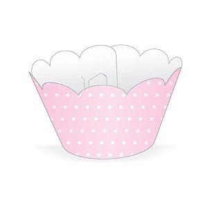 Mini Wrapper Mini Cupcake - Rosa Poá Branco - 3cm x 14,5cm - 12 unidades - Nc Toys - Rizzo Embalagens
