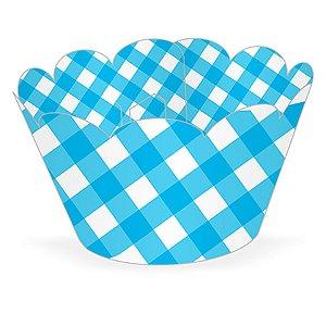 Wrapper Cupcake Tradicional - Xadrez Azul - 5cm x 22cm - 12 unidades - Nc Toys - Rizzo Embalagens