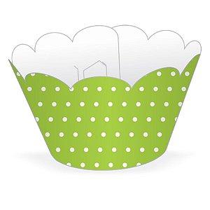 Wrapper Cupcake Tradicional - Verde Limão Poá - 5cm x 22cm - 12 unidades - Nc Toys - Rizzo Embalagens