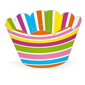 Wrapper Cupcake Tradicional - Listras Coloridas - 5cm x 22cm - 12 unidades - Nc Toys - Rizzo Embalagens