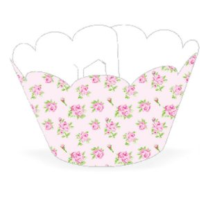 Wrapper Cupcake Tradicional - Floral Rosa - 5cm x 22cm - 12 unidades - Nc Toys - Rizzo Embalagens