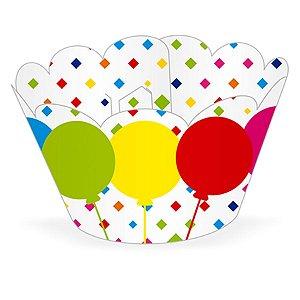 Wrapper Cupcake Tradicional - Balões Coloridos - 5cm x 22cm - 12 unidades - Nc Toys - Rizzo Embalagens