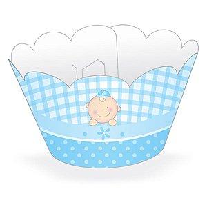 Wrapper Cupcake Tradicional - Baby Azul - 5cm x 22cm - 12 unidades - Nc Toys - Rizzo Embalagens