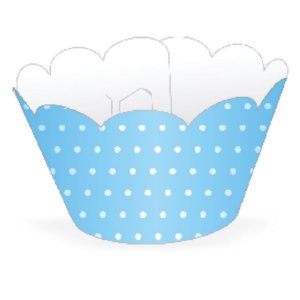 Wrapper Cupcake Tradicional - Azul Claro Poá - 5cm x 22cm - 12 unidades - Nc Toys - Rizzo Embalagens