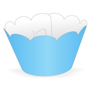 Wrapper Cupcake Tradicional - Azul Claro - 5cm x 22cm - 12 unidades - Nc Toys - Rizzo Embalagens