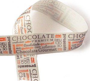Fita de Cetim Decorada Chocolate Premium Palha  38mm ECF009D Cor 064 - 10 metros - Progresso - Rizzo Embalagens