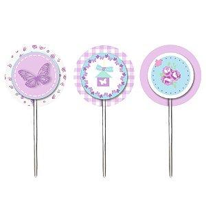 Pick para Cupcake Festa Jardim Borboletas - 12 unidades - Cromus - Rizzo Festas