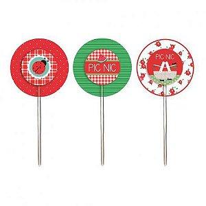 Pick para Cupcake Redondo Festa Pic Nic - 12 unidades - Cromus - Rizzo Festas