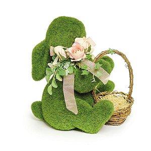 Coelho Sentado Verde Rústico Flor Cestinha - 25cm x 18cm x 19cm - Linha Rústic - Cromus Páscoa Rizzo Embalagens
