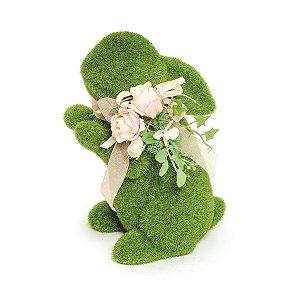 Coelho em Pé Verde Rústico Flor - 24cm x 14m x 11cm - Linha Rústic - Cromus Páscoa Rizzo Embalagens