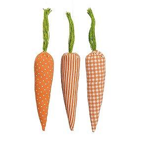 Cenoura em Tecido para Decoração de Páscoa - 18cm x 4cm - 6 unidades - Cromus Páscoa Rizzo Embalagens
