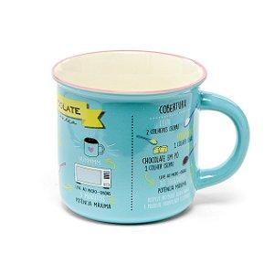 Caneca Cerâmica com Receita de Bolo Azul - 350ml - Cromus Páscoa - Rizzo Embalagens