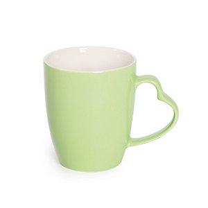 Caneca Cerâmica Alça Coração Verde - 350ml - Cromus Páscoa - Rizzo Embalagens