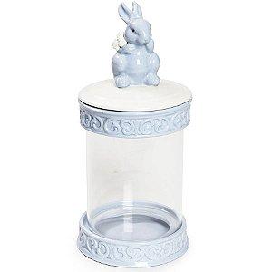 Pote Hermético em Vidro e Cerâmica Coelho Azul - 21cm x 10cm - Cromus Páscoa - Rizzo Embalagens