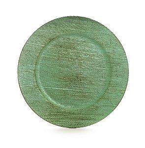 Sousplats em Resina Texturizado Verde Decoração de Páscoa Rústica - 33cm - Cromus Páscoa - Rizzo Embalagens
