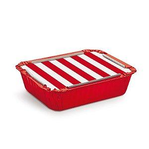 Marmitinha Listras Vermelho M 8,5x6,5x2,5cm - 12 unidades - Cromus - Rizzo Embalagens
