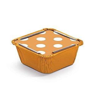 Marmitinha Poá Laranja P 5,5x5,5x3cm - 12 unidades - Cromus - Rizzo Embalagens