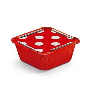 Marmitinha Poá Vermelho P 5,5x5,5x3cm - 12 unidades - Cromus - Rizzo Embalagens