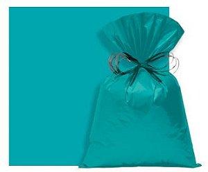 Saco Perolado Turquesa com Aba Adesiva Azul  08x8cm - 100 unidades - Cromus - Rizzo Embalagens