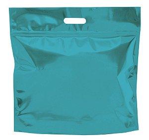 Sacola Metalizada com Zip G 46x43x5cm Azul - 01 unidade - Cromus - Rizzo Embalagens
