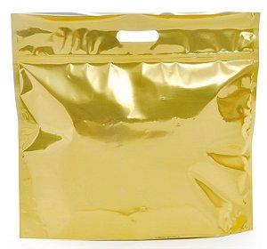 Sacola Metalizada com Zip P 46x43x5cm Dourado - 01 unidade - Cromus - Rizzo Embalagens