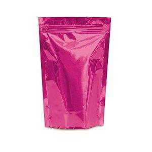 Sacolinha Metalizada com Zip 12x16cm Pink - 08 unidades - Cromus - Rizzo Embalagens