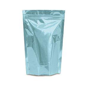 Sacolinha Metalizada com Zip 12x16cm Azul - 08 unidades - Cromus - Rizzo Embalagens