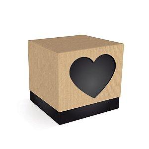 Caixa Cubo Coração Preta Felizes para Sempre 7,5x7,5x7,5cm  - 08 unidades - Cromus - Rizzo Embalagens