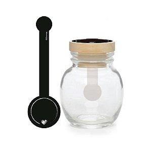 Potinho de Vidro com Lacre Adesivo Felizes para Sempre 7,5x4x13cm  - 08 unidades - Cromus - Rizzo Embalagens