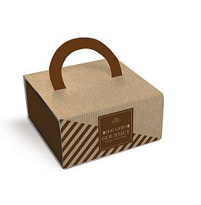 Caixa Luva com Alça para 4 doces 8,6x8,6x4cm Brigadeiro Gourmet Clássico - 10 unidades - Cromus - Rizzo Embalagens
