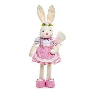 Coelha em Pé Algodão Doce Rosa - 52cm x 15cm x 11cm - Linha Pastille - Cromus Páscoa - Rizzo Embalagens