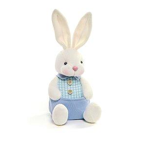 Coelho Sentado com Bolso Azul - 22cm x 10cm x 10cm - Linha Pastille - Cromus Páscoa - Rizzo Embalagens