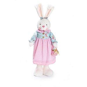 Coelha em Pé Jardim Cestinha - 69cm x 16cm x 16cm - Linha Vanilla - Cromus Páscoa - Rizzo Embalagens