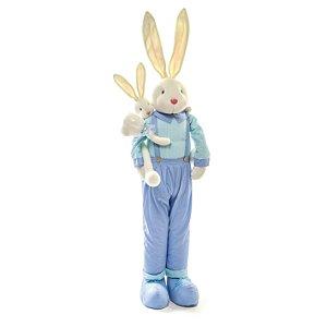 Coelho em Pé com Filhote Azul - 140cm x 24cm x 20cm - Linha Pastille - Cromus Páscoa - Rizzo Embalagens