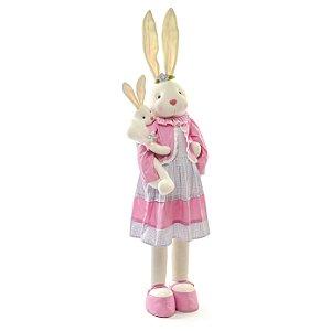 Coelha em Pé com Filhote Rosa - 140cm x 24cm x 20cm - Linha Pastille - Cromus Páscoa - Rizzo Embalagens